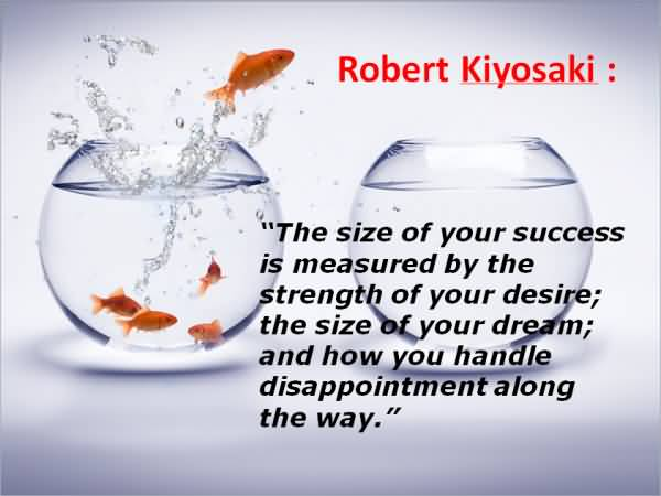 Achievement Qoute The Size Of Your Success Is Measured By The Strength Of Your Desire By Robert Kiyosaki For Facebook