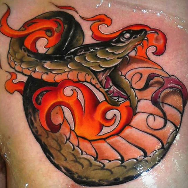 Attractive Neo Traditional Snake Tattoo Right Chest
