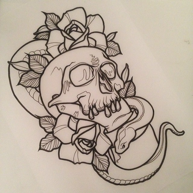 Blac Ink Neo Traditional Snake With Skull And Roses Tattoo Design