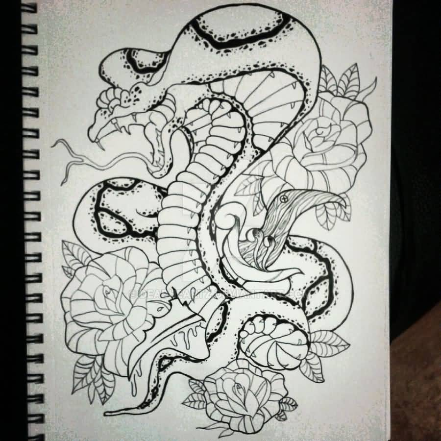 Black Ink Neo Traditional Cobra Snake With Flowers Tattoo Design