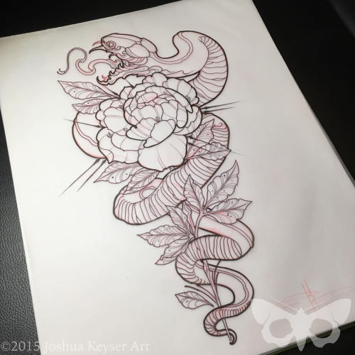 Black Ink Neo Traditional Snake With Rose Tattoo Design