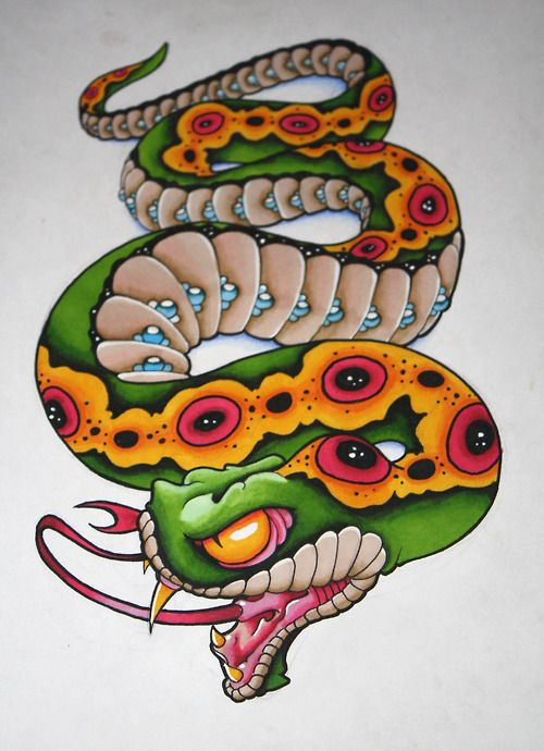 Colorful Neo Traditional Snake Tattoo Design
