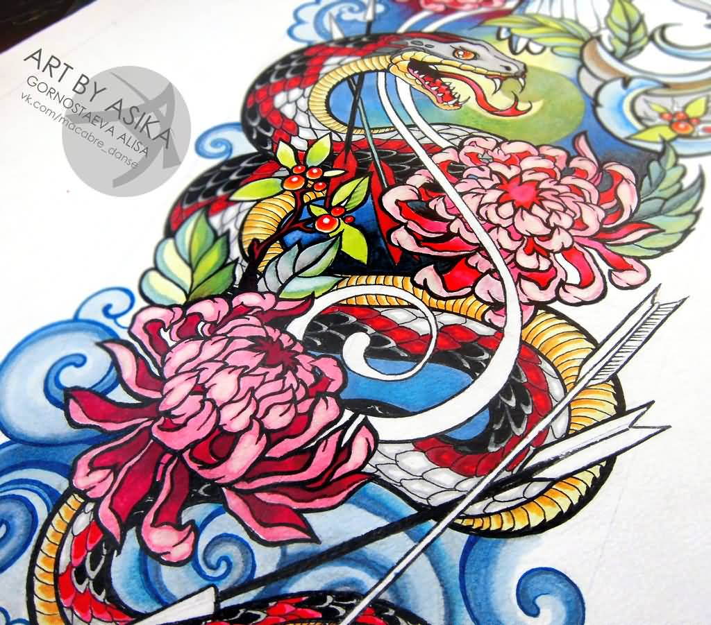 Colorful Neo Traditional Snake With Flowers Tattoo Design