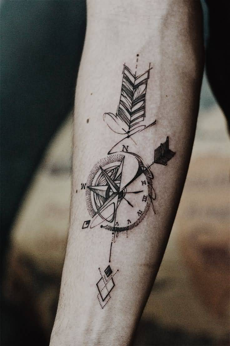 Compass And Arrow Tattoo Design For Forearm