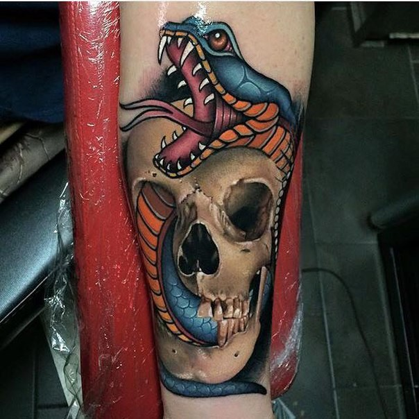 Cool 3d Neo Traditional Snake In Skull Tattoo Design For Sleeve