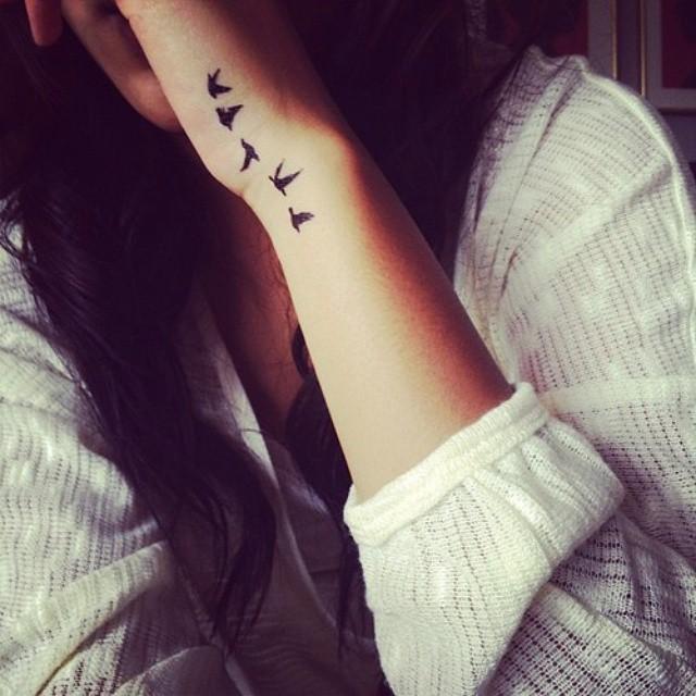 Feminine Classy Wrist Tattoo Birds On Left Hand