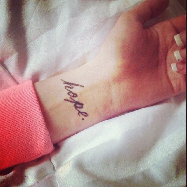 Hope And Love Feminine Classy Wrist Tattoo For Girl
