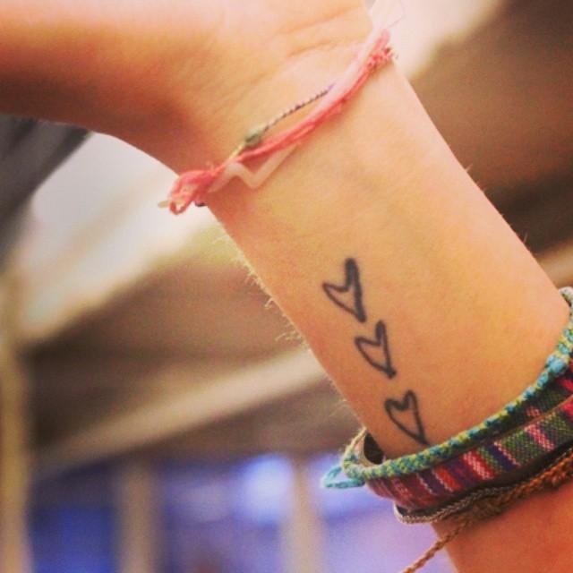 Lovely Heart Black Ink Classy Wrist Tattoos