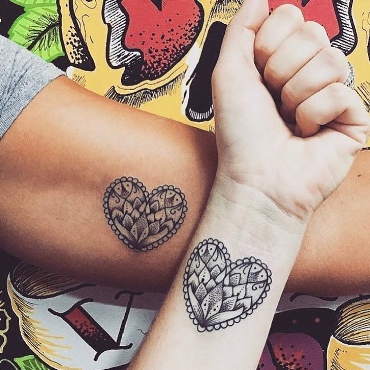 Male Female Sentimental Tattoo For Couples On Hands