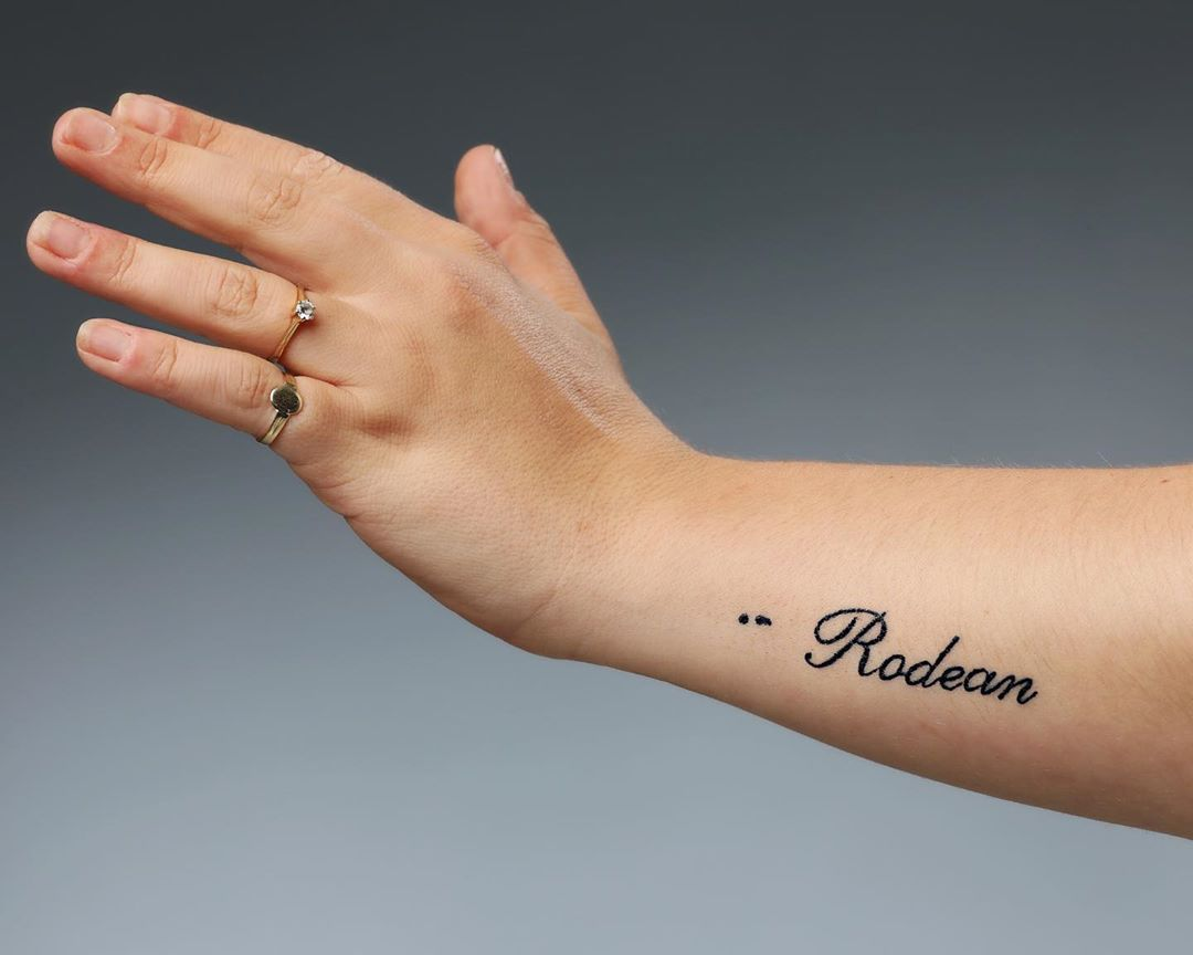 Name With Semicolon Tattoo On Wrist