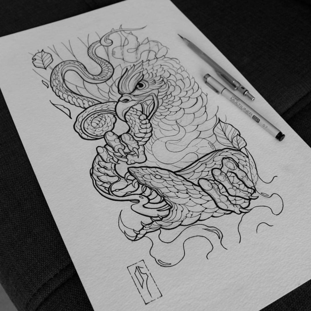 Neo Traditional Eagle With Snake Tattoo Design
