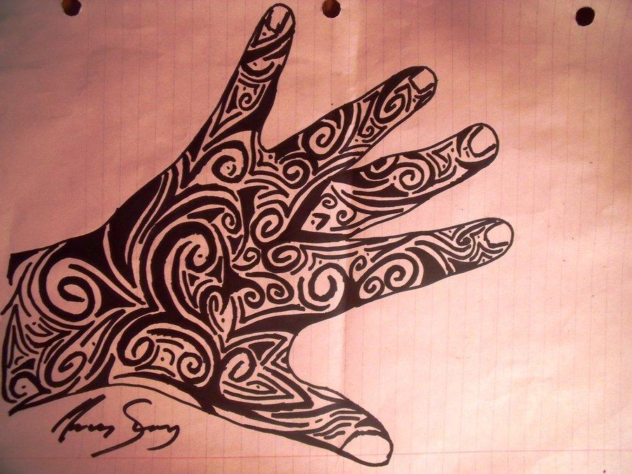 Nice Black Tribal Hand Tattoo Design