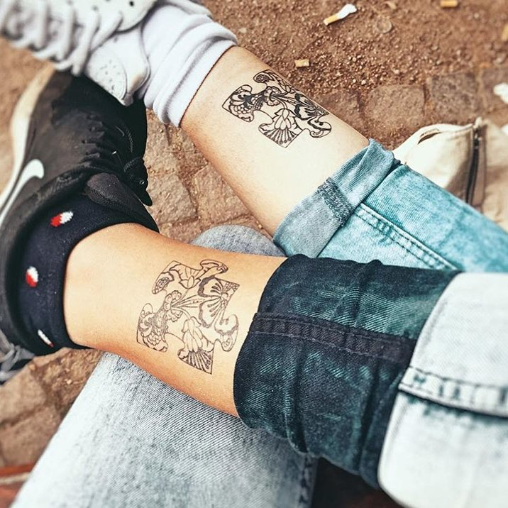 Special Friend Sentimental Tattoo For Couples On Leg