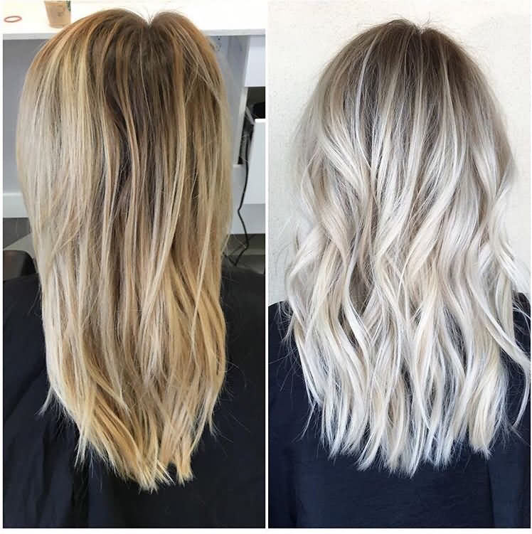 After Before Icy Blonde Hair