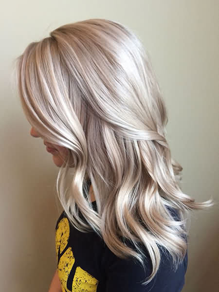 Balayage Icy Blonde Hair Sliver Color Shade