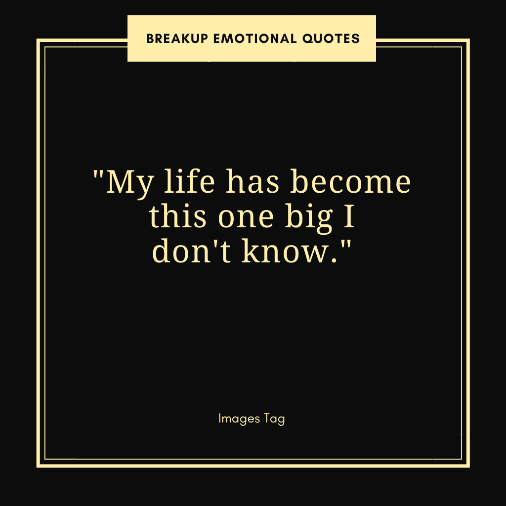 My Life Has Become This One Big I Don't Know Breakup Emotional Quote