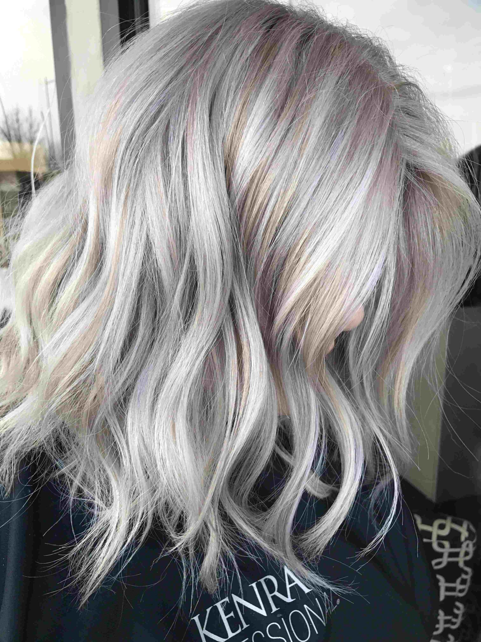 Platinum Shoulder Length Icy Blonde Hair Color