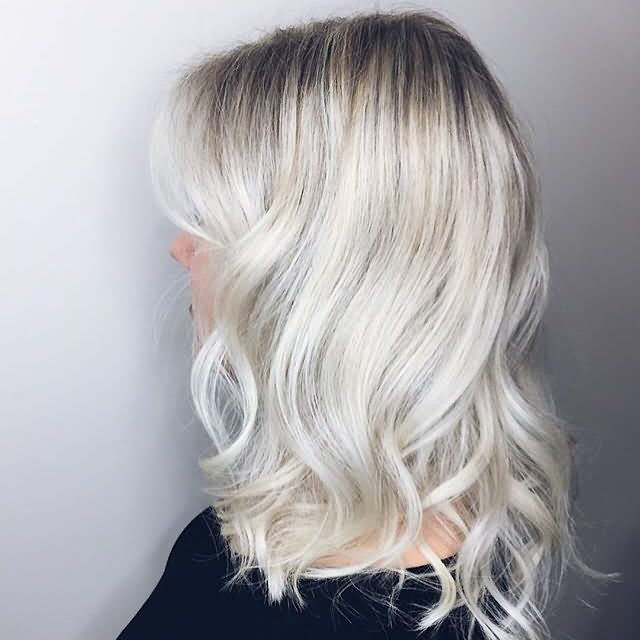 Short Medium Gray Icy Blonde Hair Color