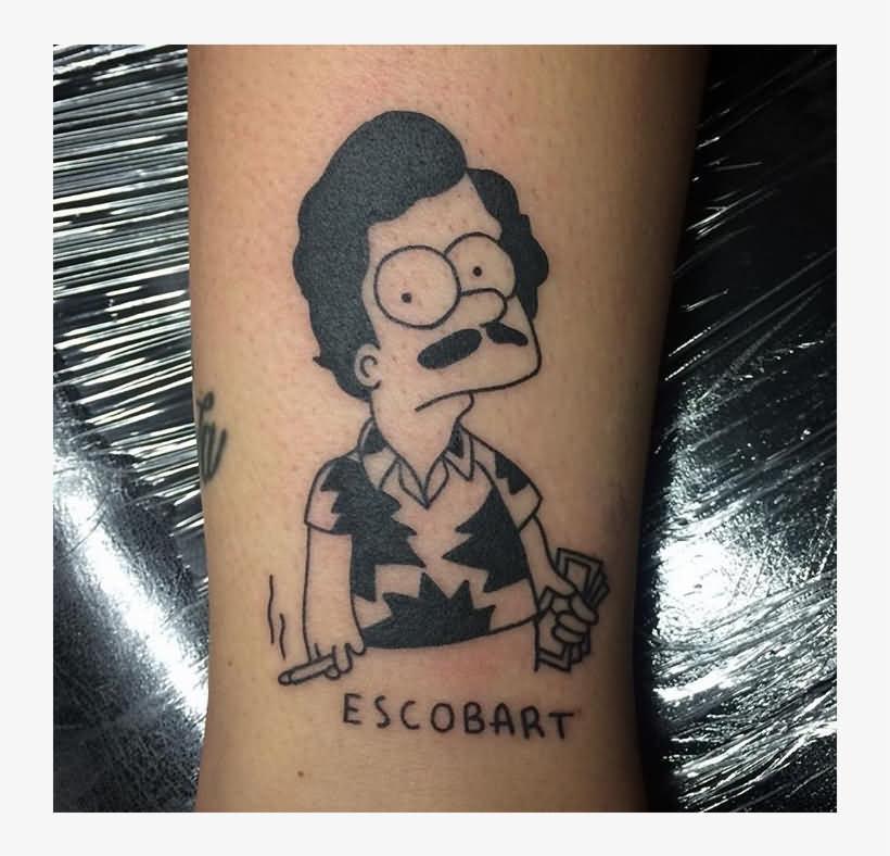 Small Black Ink Pablo Escobar Tattoo Design On Wrist
