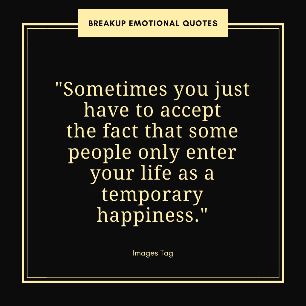 Sometimes You Just Have To Accept The Fact That Some People Only Enter Your Life As A Temporary Happiness. Breakup Emotional Quote
