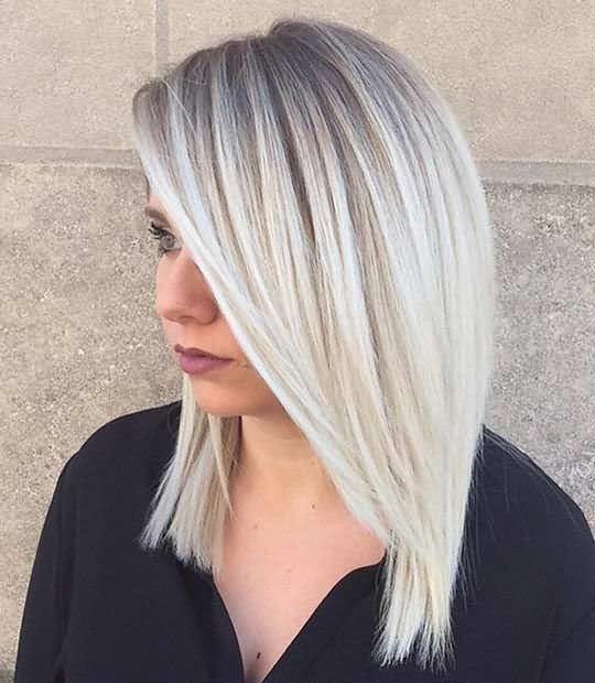 Stright Hair Gray Shade Icy Blonde Hair 2020