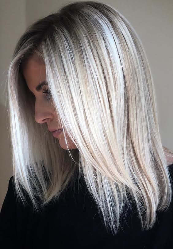 Stright Gray Ash Icy Blonde Hair Color