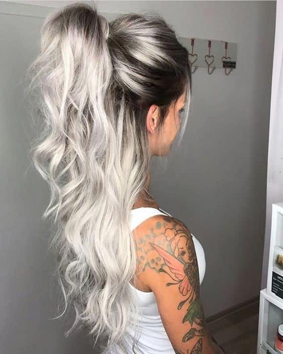 Trendy Medium Length Icy Blonde Hair Color