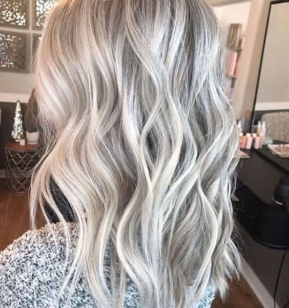 Very Medium Length Icy Blonde Hair Trendy Color