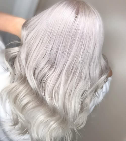 White Gray Icy Blonde Hair Color Idea