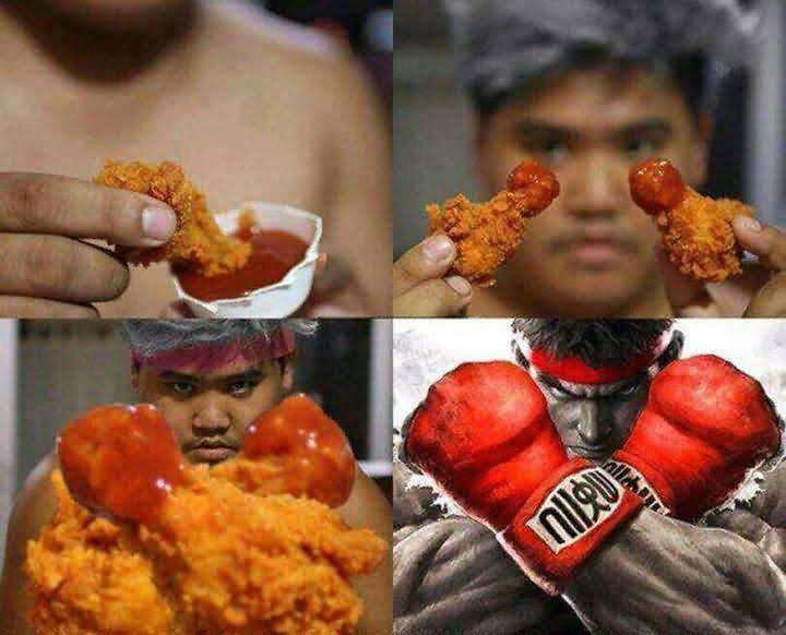 Funny Boxer Chicken Wing Meme