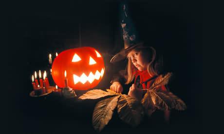 Child With Pumkin On Halloween 2020 Status
