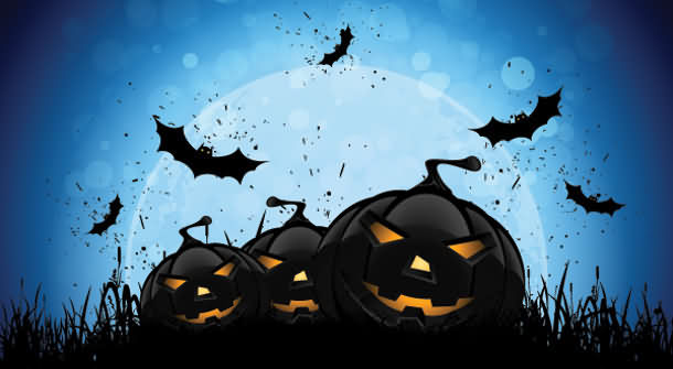 Pumkin With Bats On Halloween