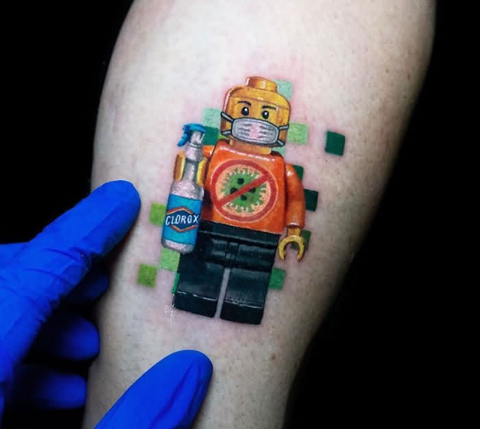 Robot Corona Virus Tattoo