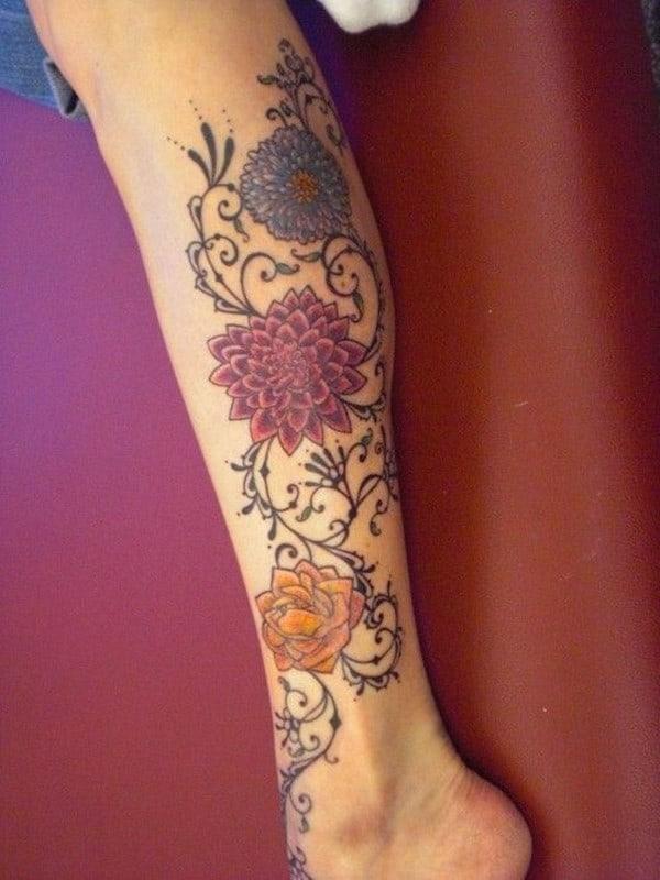 Colourful Dahlia Tattoo Idea On Calf For Girls