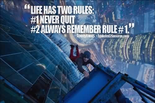 Never Quit Success Motivational Quote