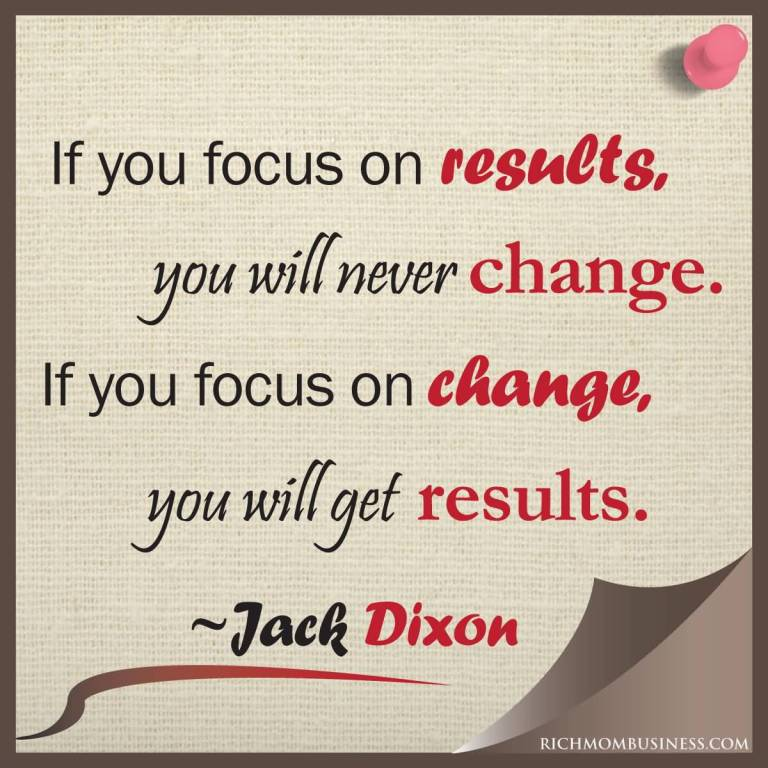 Quote About Motivational You Focus On Results, Change. Change Result.