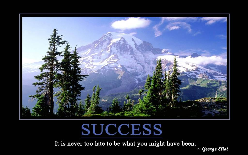 Success Motivational Quote Saying About It Is Never Too Late To Be What You Might Have Been