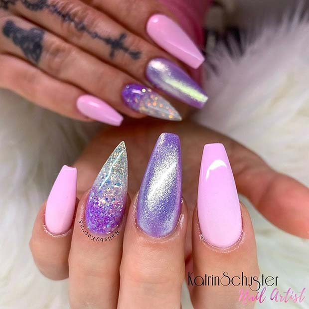 Glam Purple And Pink Nails Art