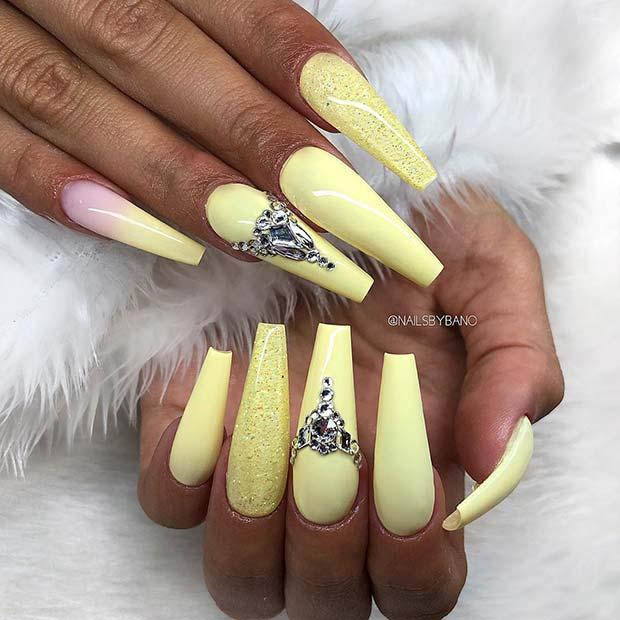 Glitzy Yellow Nail Idea