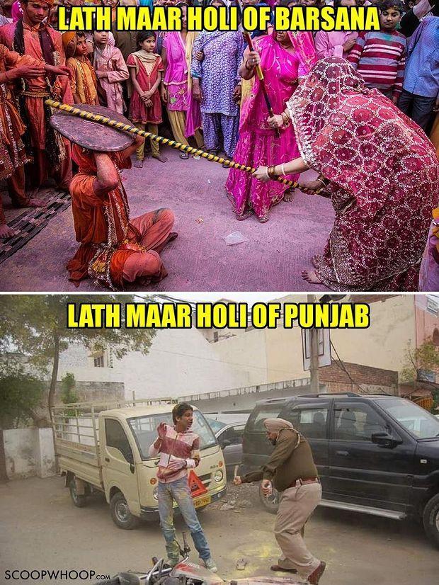 Lath Maar Holi Meme