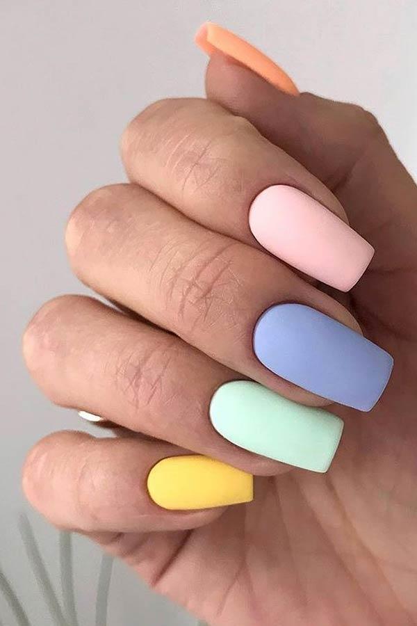 Matte Pastel Nails Idea