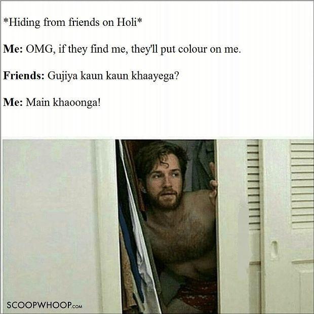 Me Hiding On Holi Meme