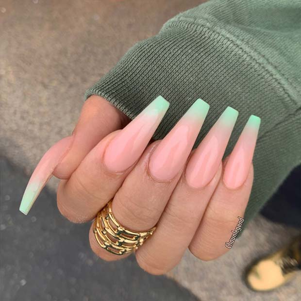 Nude And Mint Green Ombre