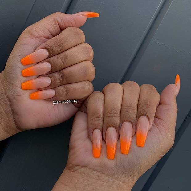 Nude And Neon Orange Ombre Nails