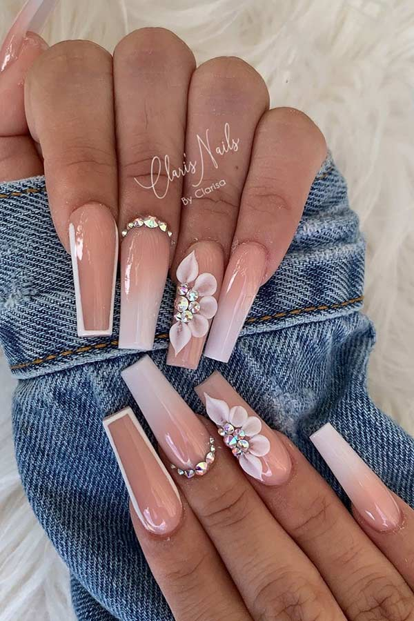 Nude And White Ombre Nails
