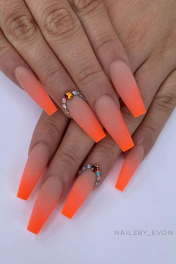 Nude To Neon Orange Coffin Nails