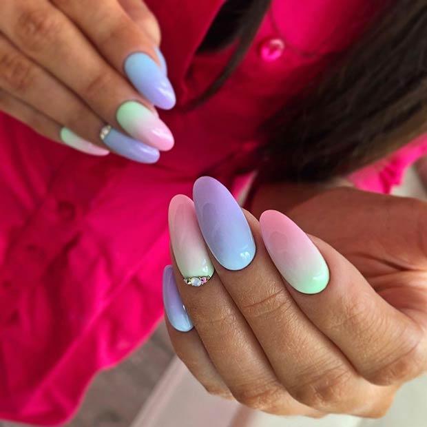 Pastel Gradient Almond Nails Art