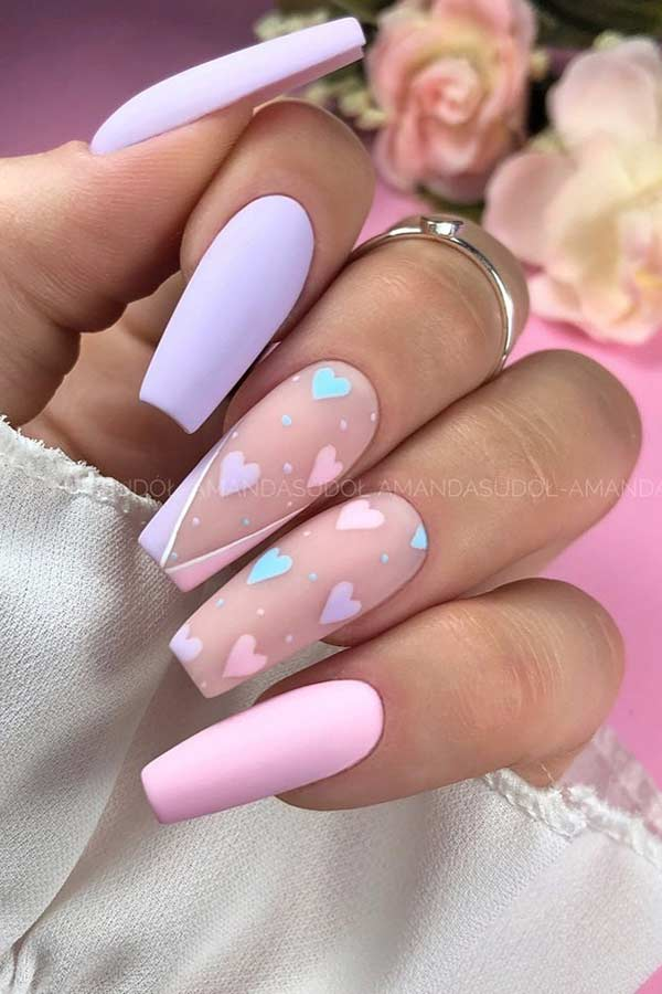 Pastel Heart Nails For Spring
