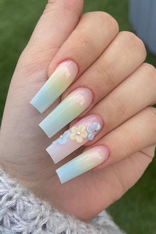 Pastel Ombre Nails With Flowers
