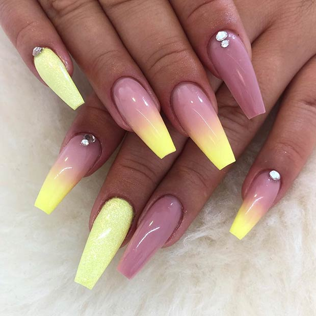 Pastel Yellow Ombre Nails Art